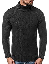 OZONEE Uomo Maglione a Collo Alto Maglione Pullover Maglia Fine Sweatshirt  Pullover Moderno Base Colletto Alto 66d3cdd48aa