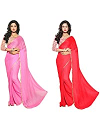 Aashi Exclusive Combo Pack Of 2 Sarees With Net Blouse And Fancy Border (Pink & Red)
