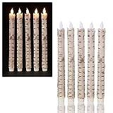 LED Stabkerzen in Birkenoptik 5er Set, flammenlose Kerzen, Echtwachskerzen, Tafelkerzen Kerzen