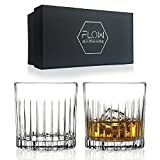 Deco Crystal Whiskey Glasses Set Of 2, High Quality Crystal Glassware By FLOW Barware Perfect for Scotch, Bourbon Gin & Tonic, Cocktails and More