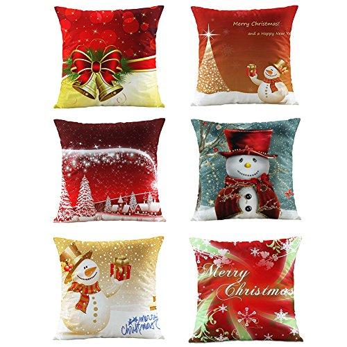 Vesub, federa da cuscino natalizia decorativa, con pupazzo di neve, idea regalo per Natale, Mixedcolor, 6 pezzi