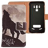 Lankashi PU Flip Leder Tasche Hülle Case Cover Handytasche Schutzhülle Etui Skin Für Doogee S90 / S90 Pro 6.18 inch (Wolf Howl Design)