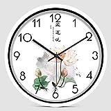 YANXUEPING Kreative Chinesische Modernen Chinesischen Stil Wohnzimmer Uhr Einfache Silent Clock, Start an der Wand hängenden Stein, 12 Zoll, weißer Rahmen