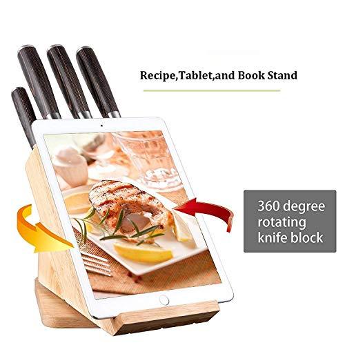 Deik Messerblock Set, Messerset, Kochmesser, Edelstahl, Ergonomischer Holz-Griff, drehbarer Holzblock - 4