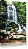 Wunderschöner tropischer Wasserfall , Format: 40x60 auf hochkantiges Leinwand, XXL riesige Bilder fertig gerahmt mit Keilrahmen, Kunstdruck auf Wandbild mit Rahmen, günstiger als Gemälde oder Ölbild, kein Poster oder Plakat