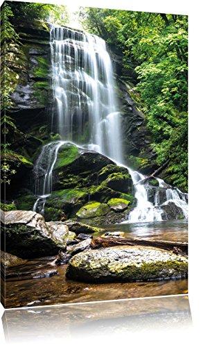 Wunderschöner tropischer Wasserfall , Format: 70x100 auf hochkantiges Leinwand, XXL riesige Bilder fertig gerahmt mit Keilrahmen, Kunstdruck auf Wandbild mit Rahmen, günstiger als Gemälde oder Ölbild, kein Poster oder Plakat