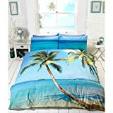 Bettwäsche-Set, tropisches Strand-Motiv, 3D-Optik, Blau / Grün, Polycotton, Blau / Grün, Doppelbett