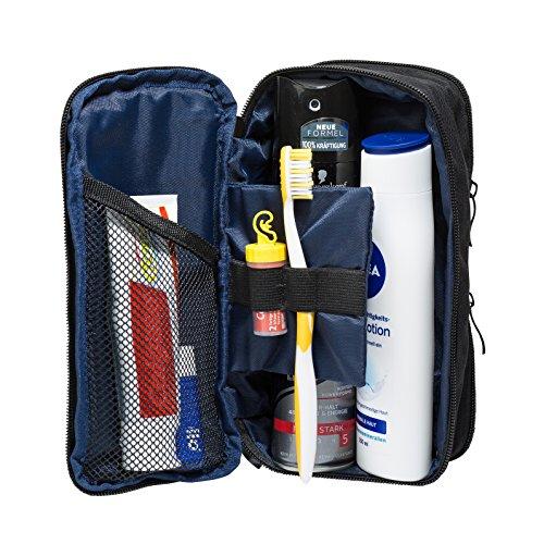 Kulturbeutel, Kulturtasche klein (25 cm, schwarz blau), Medizintasche Reiseapotheke Mini-tasche Für Männer
