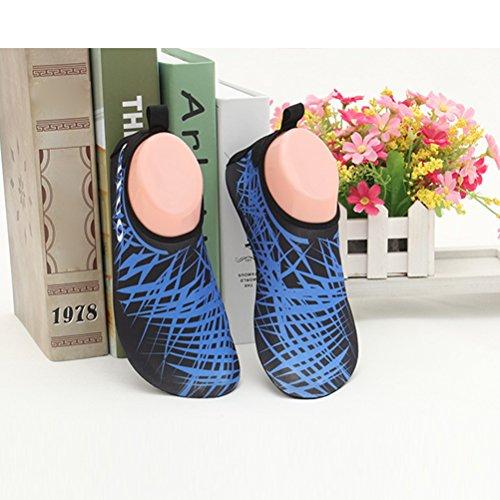 Zhuhaitf Plage Casual Sport Unisexe Léger Nuotare Diving Yoga Chaussettes A Piedi Nudi Chaussures Non-slip Rubber Sole Bleu