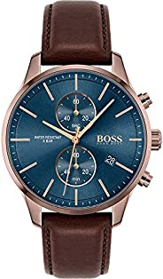 Hugo Boss Men's Blue Dial Brown Leather Watch - 151