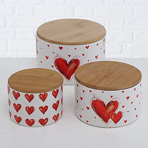 CasaJame Vorratsdosen 3er Set Herz mit Bambusdeckel, Aufbewahrungsboxen Steingut mit Herzmotiv, Dosen 12cm, 13&16cm
