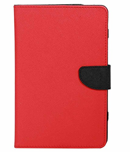 Red With Black Stylabs Tablet Book Flip Case Cover For Micromax Canvas Tab P470