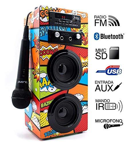ALTAVOCES JOYBOX BLUETOOTH COMIC BIWOND 2.0 CON KARAOKE Y MICROFONO Si no te conformas con escuchar música y lo tuyo es cantar y tararear tus temas favoritos, JoyBox Karaoke es tu compañero perfecto. Reúne todas las características que estabas buscan...