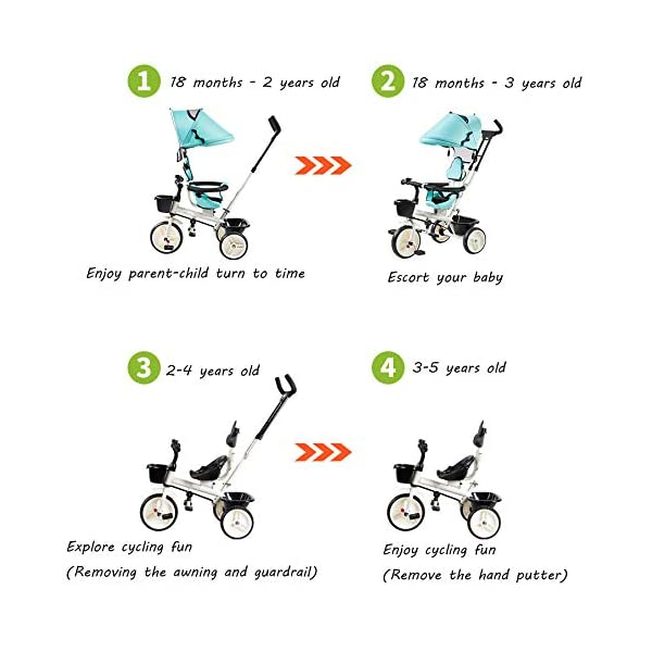 BGHKFF 4 In 1 Children's Hand Push Tricycle 1 To 6 Years 360° Swivelling Saddle Children's Pedal Tricycle Folding Sun Canopy 2-Point Safety Belt Folding Footrests Child Trike Maximum Weight 25 Kg,Red BGHKFF ★Material: Steel frame, suitable for children aged 1-6, maximum weight 25 kg ★ 4 in 1 multi-function: can be converted into a stroller and a tricycle. Remove the hand putter and awning, and the guardrail as a tricycle. ★Safety design: Golden triangle structure, safe and stable; front wheel clutch, will not hit the baby's foot; 2 point seat belt + guardrail; rear wheel double brake 2