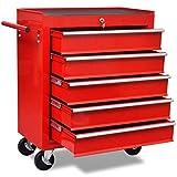 vidaXL Servante d'atelier Chariot à outils de l'atelier en acier rouge avec 5 tiroirs