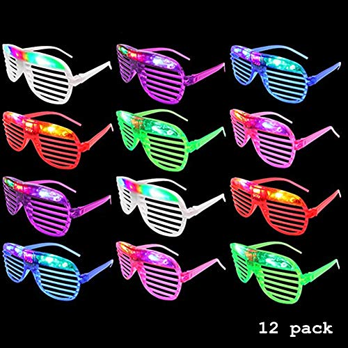H.Yue 12 Pack Flashing LED Sunglasses Multi Color Luminous Eye Mask Glowing Glasses Party Favors