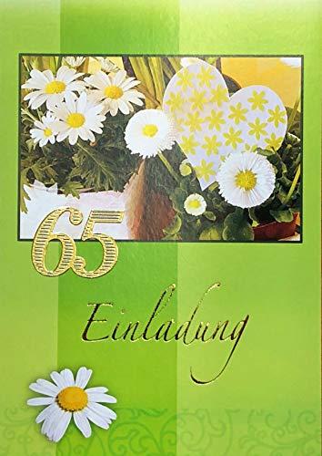 Einladungskarten 65. Geburtstag Frau Mann mit Innentext Motiv Blumen 10 Klappkarten DIN A6 im Hochformat mit weißen Umschlägen im Set Geburtstagskarten Einladung 65 Geburtstag Mann Frau K185