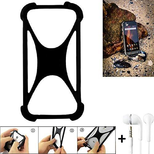 K-S-Trade Bumper Caterpillar Cat S31 Schutzhülle Handyhülle Silikon Schutz Hülle Cover Case Silikoncase Silikonbumper TPU Softcase Smartphone, schwarz (1x), Headphones