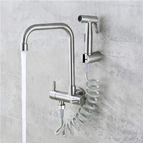 Küchenarmatur 304 Edelstahl in die Wand horizontale Kaltwasserhahn Spray Set Bidet Düse Doppel-Steuerhahn -