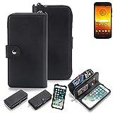K-S-Trade 2in1 Handyhülle für Motorola Moto E5 Dual SIM Schutzhülle & Portemonnee Schutzhülle Tasche Handytasche Case Etui Geldbörse Wallet Bookstyle Hülle schwarz (1x)