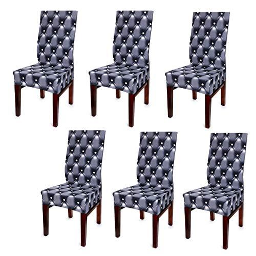 Sumnacon 6 x Housses de Chaise Extensible pour Décoration de la Maison ou Bureau, Anti de Poussière (Noir)