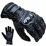 Motorradhandschuhe PROANTI Leder kurz Motorrad Handschuhe (Gr. S-XXL schwarz)