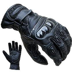 Motorradhandschuhe PROANTI® Leder kurz Motorrad Handschuhe (Gr. S-XXL schwarz)