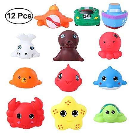TOYMYTOY Meerestier Bad Spielzeuge Rubber Spritzen Badewanne Spielzeug Pädagogisch Spielzeuge 12er-Pack (12er-Pack Bad…