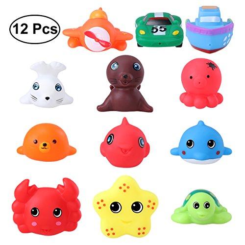 TOYMYTOY Bad Spielzeuge Meerestier Rubber Spritzen Badewanne Spielzeug Pädagogisch Spielzeuge 12er-Pack