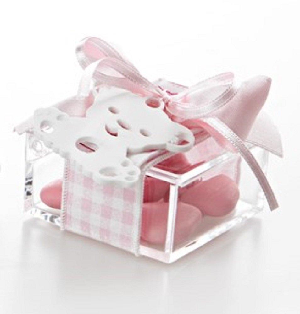 Bomboniera con confetti, Scatola Plexiglass pendaglio CIUCCIO-ORSETTO Fiocco ROSA con confetti.
