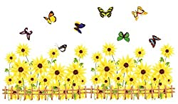 Kappier Yellow Gerbera Daisy Flowers / Sunflowers with Butterflies Over Fences Wall Decals