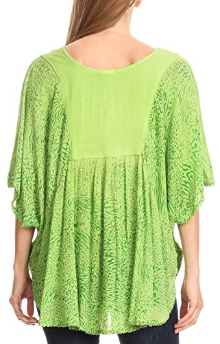 Sakkas Ceylan Circle Blouse Top Scoop Neck Relaxed Fit Casual Simple Vert