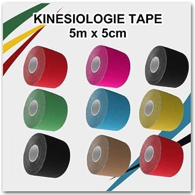 Kintex Classic Lot de 6 bandes de taping kinésiologique avec mini-guide en rouleaux de 5 x 5 cm