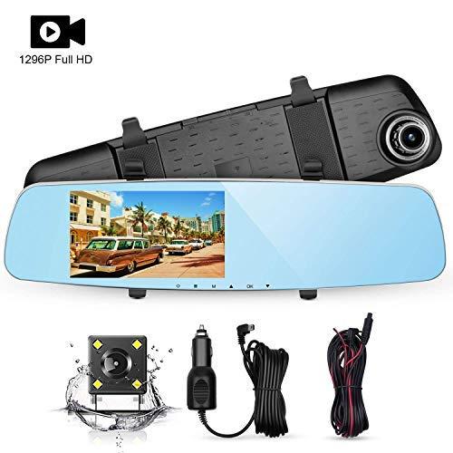 NC Rückfahrkamera Set, 1296P Rückspiegel Kamera mit 5.0' LCD Display, 4 LED Rückfahrkamera, Loop-Aufnahme, G-Sensor, WDR, 6 Schicht Glas, Auto-Ladegerät