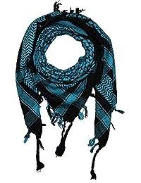 FREAK SCENE® Foulard palestinien keffieh en coton - couleur de base noire -  100 x 100 cm - Large palette de… 7e21325afd2