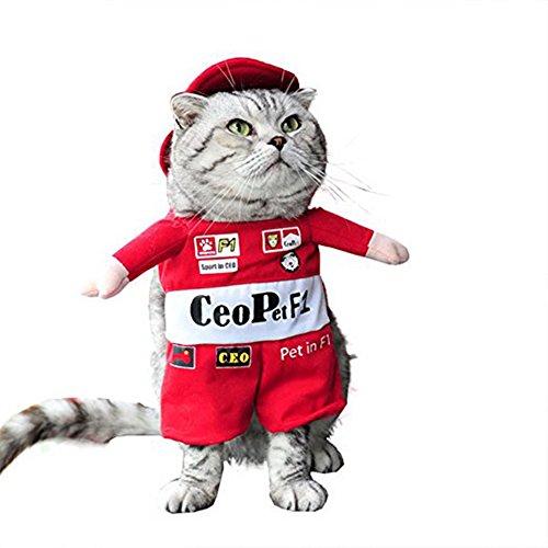 Haustier Kostüm Outfit Haustier-Rennanzug Halloween Weihnachten Kleidung mit Hut (Halloween-kostüme Mit Einem Haustier)