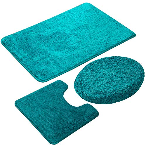 JIAN YA NA 3-teiliges Badezimmerteppich-Set, Rutschfeste Mikrofaser, zottelig, weich, Badematte, Badematte, Toilettensitzbezug, Polypropylen, grün, 50 x 80 cm
