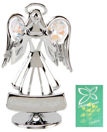 Crystocraft Keepsake Gift Ornament - Guardian Angel with Swarvoski Crystal Elements -