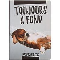 Exacompta Forum Funny Pets 1844511E - Agenda journalier broché - Août 2018 à Juillet 2019 - couverture en carte imprimée avec un pelliculage brillant toilé - 12 x 17 cm visuel chien