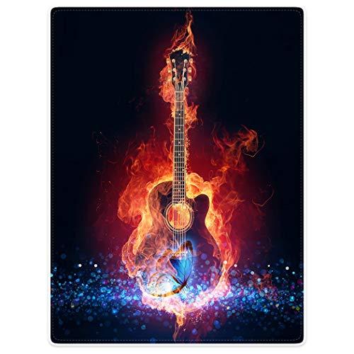 Violetpos Dick Decke Weich Wärme Gemütlich Flanell Fleece Sofadecke Deckeldecke E-Gitarre Seele Feuer Blauer Schmetterling 150 x 200 cm - E-gitarre Feuer