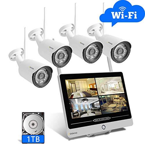 SOOHAO überwachungskamera System WLAN, überwachungskamera aussen WLAN 4pcs,überwachungskamera mit Monitor 12-Zoll-Monitor NVR Fernüberwachung Nachtsicht, Bewegungserkennung ip66 [2019NEUE]