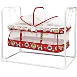 STEPUPP Newborn Baby LittleNest Bassinet Cradle With Mosquito Net-Canopy And Wheels Recommened For Cradle For Baby With Net And Swing Kids Cradle Baby Cradle Mosquito Net Cradle Baby Cradle Jhula Swing ( Red 028 )