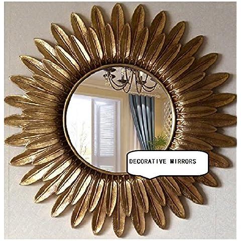 Al estilo europeo espejo de las gafas de sol Espejo Espejo Espejo de la pared Espejo de baño Espejo decorativo de la pared de respaldo de la chimenea Diámetro hecho a mano puro: diámetro de los 61cm / Lens los 27cm (OY-445)