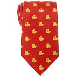 Corbata para hombre con diseño de patos de goma de Retreez, tejido de microfibra Rojo rosso Talla única