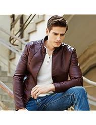 Men's jacket PU Cuir vêtements de cuir pour hommes occasionnels de jujube Asie rouge taille L CWN