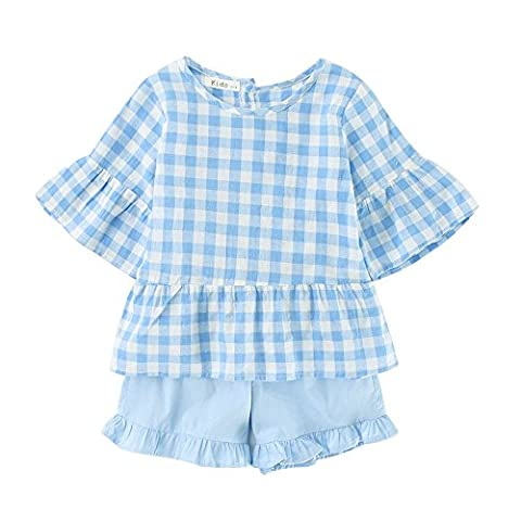 Sanlutoz Kid Girls T-shirt Clothes and Pants Shorts Skirt Outfit 2 Pieces Outfit Set (3-4 years/110cm, CCSS7030)