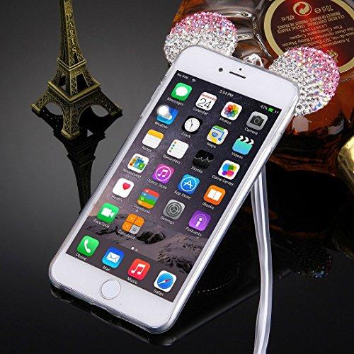 Pour iPhone 6 Plus / 6s Plus, étui protecteur transparent TPU de motif diamant de souris avec cordon et miroir YAN ( Color : Pink ) Magenta