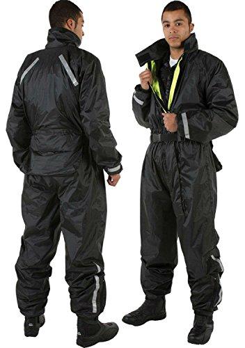 Moto Impermeabili Abiti Riflettenti: VIPER Hydro One 1 Pezzo di Riflessione su Suit di Pioggia per i Motociclisti, NERO (XS)