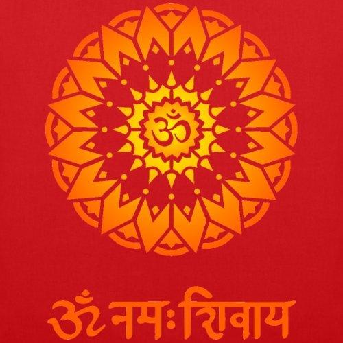 Spreadshirt OM Namah Shivaya Sanskrit Zeichen Stoffbeutel Rot