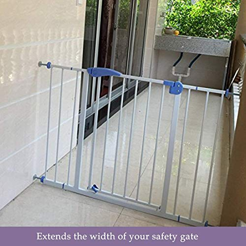 Safe-O-Kid - Safety Gate 75-95 cm (Covers More Than 3 feet Area) Adjustable, Pure Metal Safety Gate with Secret Lock & 2-Way Auto Close + Four Strong Wall Holders